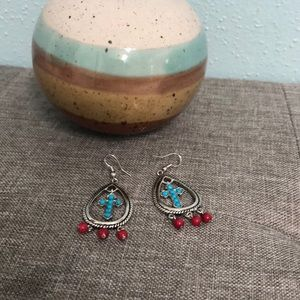 Red and turquoise cross dangle earrings